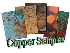 Patinated Copper Veneer Samples Free Shipping